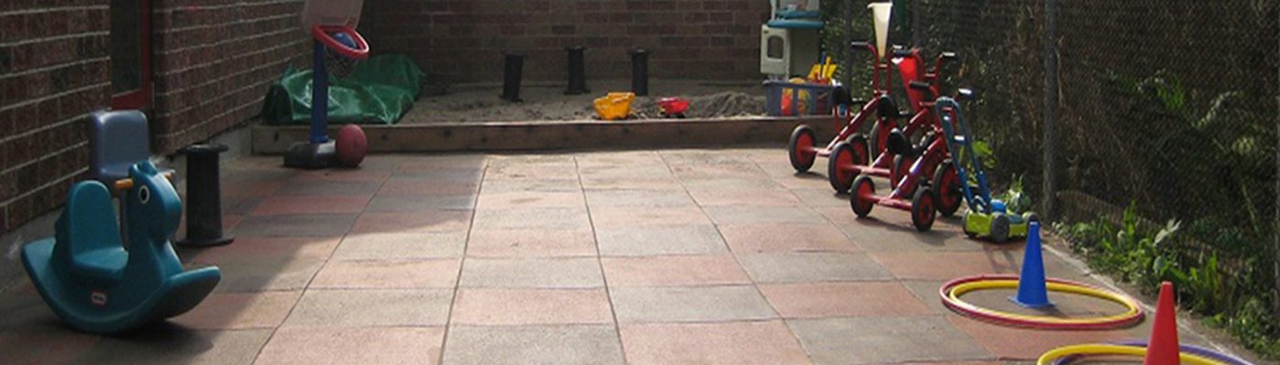 an outdoor play surface at UTM Early Learning Centre