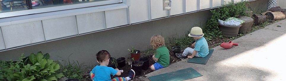 Children play in a garden at Glen Morris Early Learning Centre