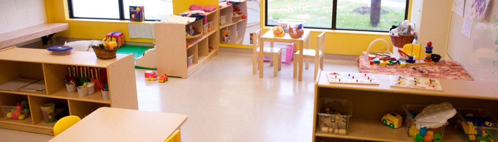 Mississauga Campus childcare room with desks and cupboards